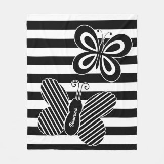 Trendy Black and White Butterfly Stripes With Name Fleece Blanket