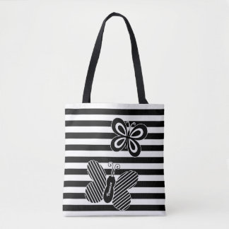 Trendy Black and White Butterfly Stripes With Name Tote Bag