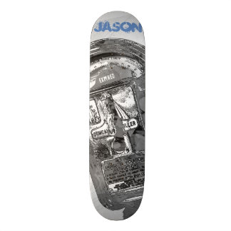 Trendy Black and White Expired Parking Meter Skateboard Deck