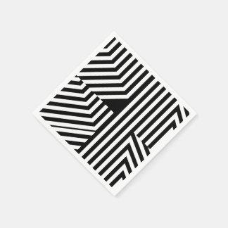 Trendy Black and White Geometric Stripes Pattern Paper Napkin