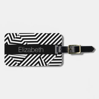Trendy Black and White Geometric Stripes With Name Bag Tag