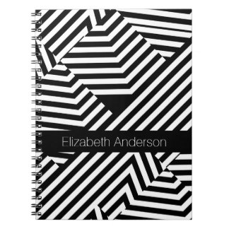Trendy Black and White Geometric Stripes With Name Spiral Notebook
