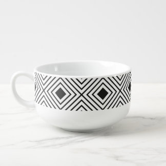 Trendy Black And White Geometric Tribal Pattern Soup Mug