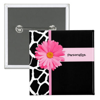 Trendy Black And White Giraffe Pink Daisy and Name 15 Cm Square Badge