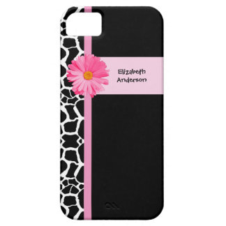 Trendy Black And White Giraffe Pink Daisy and Name Case For The iPhone 5