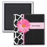 Trendy Black And White Giraffe Pink Daisy and Name Square Magnet