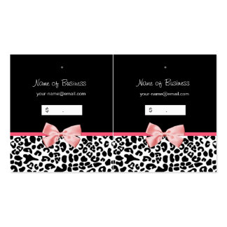 Trendy Black And White Leopard Pink Hang Tag Pack Of Standard Business Cards