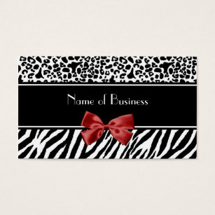 Black white red business cards business card printing zazzle trendy black and white leopard zebra red ribbon business card reheart Image collections
