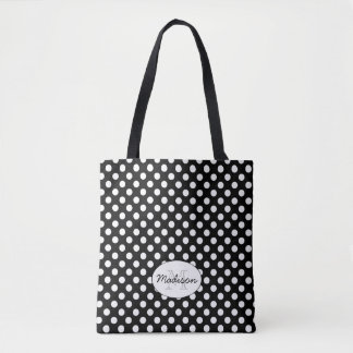 Trendy Black and White polka dots Monogram Tote Bag