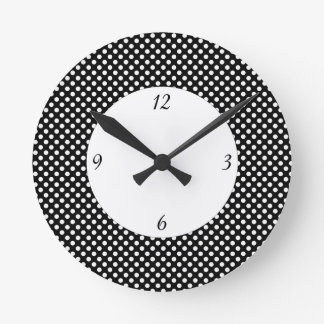 Trendy Black and White polka dots with numbers Round Clock