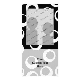 Trendy black and white retro design. photo card template