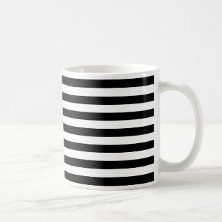 Trendy Black and White Wide Horizontal Stripes Basic White Mug