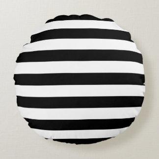 Trendy Black and White Wide Horizontal Stripes Round Cushion