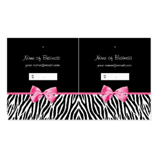 Trendy Black And White Zebra Print Hang Tag Pack Of Standard Business Cards