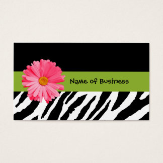 Trendy Black And White Zebra Print Pink Daisy
