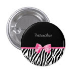 Trendy Black And White Zebra Print Pink Ribbon Pinback Button
