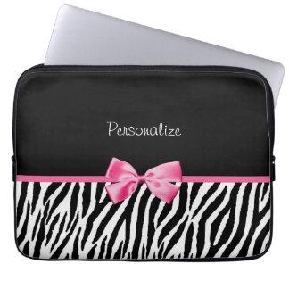 Trendy Black And White Zebra Print Pink Ribbon Laptop Sleeve