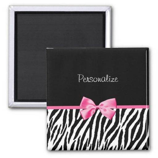 Trendy Black And White Zebra Print Pink Ribbon Fridge Magnets