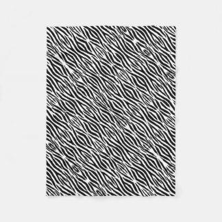 Trendy Black and White Zebra Stripes Animal Print Fleece Blanket