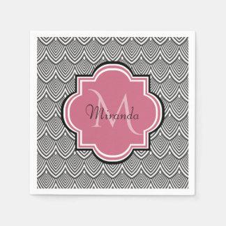Trendy Black Arched Scallops Pink Monogram Name Disposable Napkin