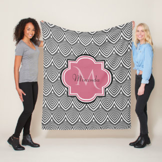 Trendy Black Arched Scallops Pink Monogram Name Fleece Blanket
