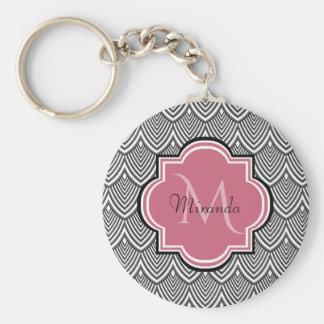 Trendy Black Arched Scallops Pink Monogram Name Key Ring