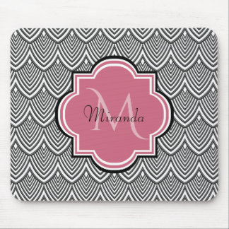 Trendy Black Arched Scallops Pink Monogram Name Mouse Pad