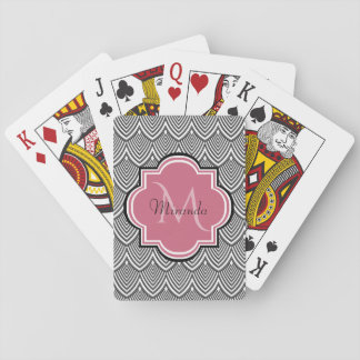 Trendy Black Arched Scallops Pink Monogram Name Playing Cards