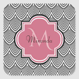 Trendy Black Arched Scallops Pink Monogram Name Square Sticker