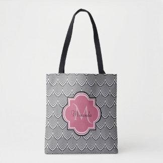 Trendy Black Arched Scallops Pink Monogram Name Tote Bag