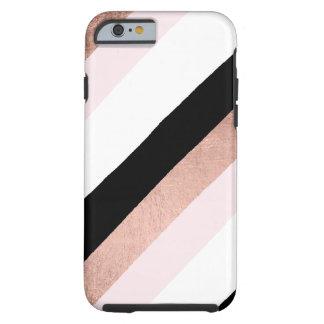 Trendy black blush pink rose gold stripes pattern tough iPhone 6 case