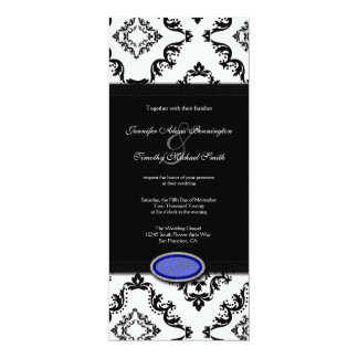 Trendy black damask blue jewel wedding invitation