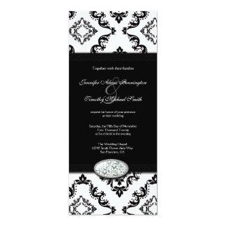 Trendy black damask diamond wedding invitation