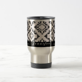 Trendy black damask personalized travel coffee mug