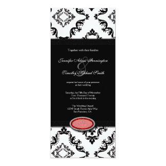 Trendy black damask ruby jewel wedding invitation