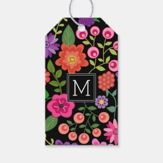 Trendy Black Floral Pattern with Custom Monogram