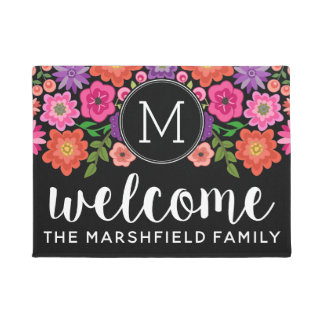 Trendy Black Floral Pattern with Custom Monogram Doormat