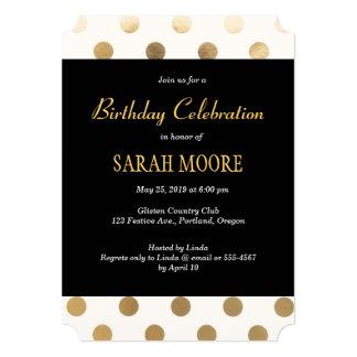 Trendy Black Glitter Gold Feminine Party Invites