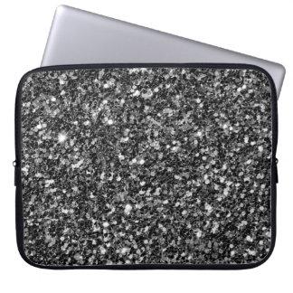 Trendy Black Glitter White Sparks Laptop Sleeve