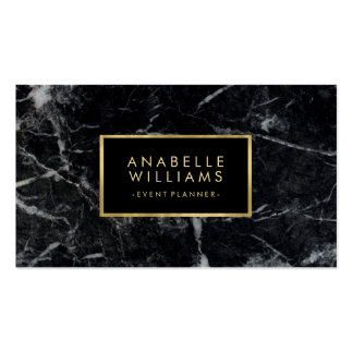 Trendy Black Marble Texture Faux Gold Foil Pack Of Standard Business Cards