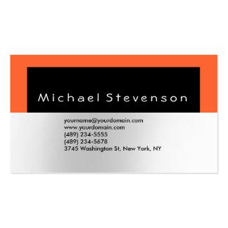 Trendy Black Orange Simple Plain Business Card