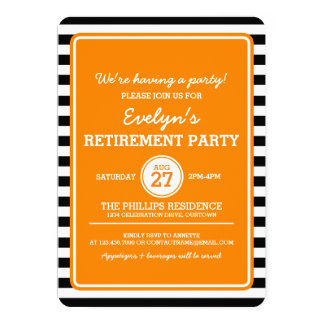 Trendy Black/Orange Stripes Party Invitation