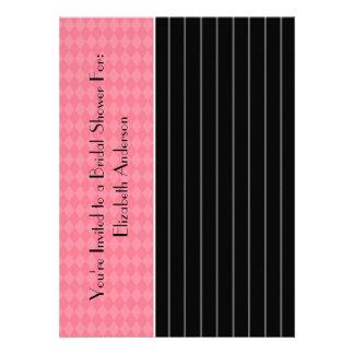 Trendy Black Pinstripe Pink Argyle Bridal Shower Custom Invitations