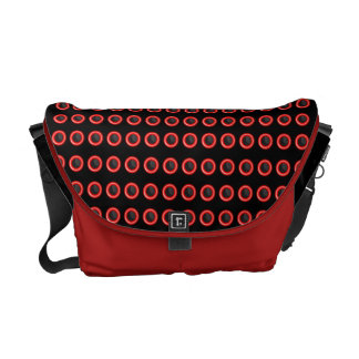 "Trendy black red ""polka dot"" pattern courier bag"