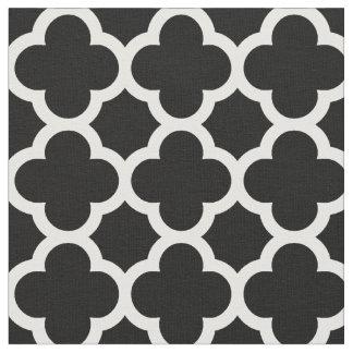 Trendy Black Retro Chic Quatrefoil Trellis Pattern Fabric