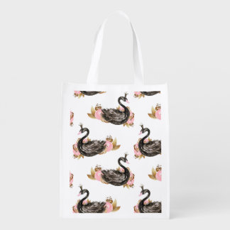 Trendy Black Swan with pink Flowers Pattern