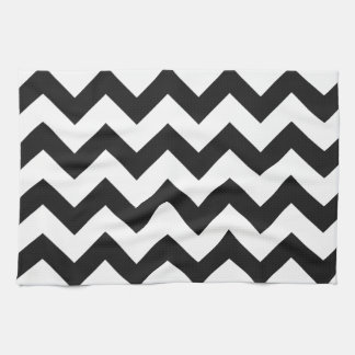 Trendy Black & White Chevron Pattern Tea Towel