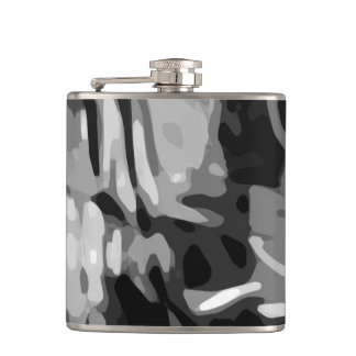 Trendy Black White Gray Abstract Pattern Hip Flask