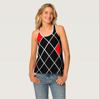 Trendy Black White Red Diamonds Pattern Singlet