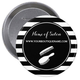 Trendy Black White Stripes Hair and Beauty Salon 10 Cm Round Badge